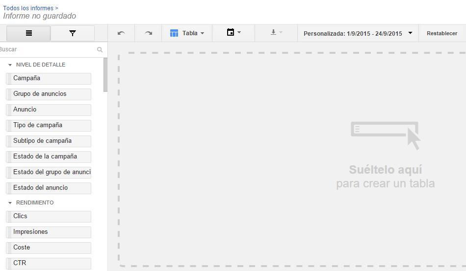 dimensiones y métricas en el nuevo editor de informes de adwords