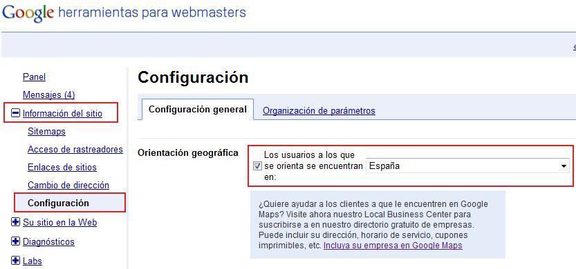 seo localización webmaster tools