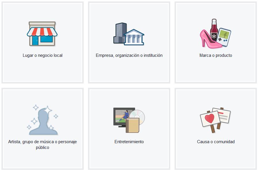 Los 6 tipos de página para empresasen Facebook