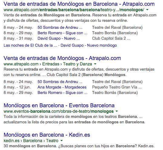 marcado de datos de eventos en Google