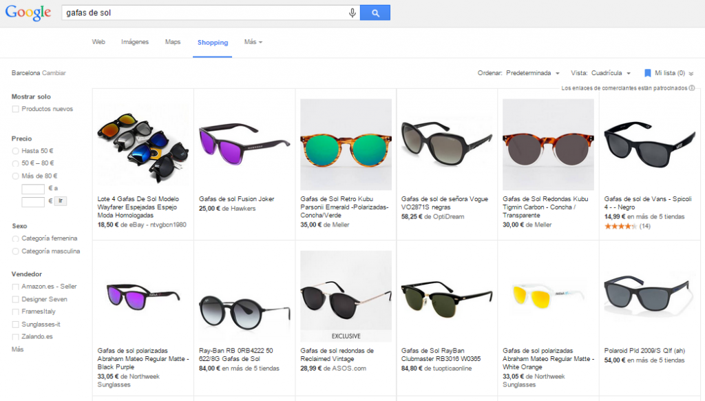 Tiendas online en Google Shopping