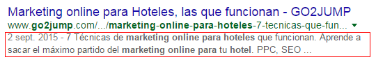 Optimización metadescription para SEO On page