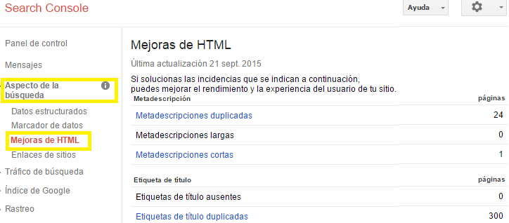search console mejoras html para seo onpage