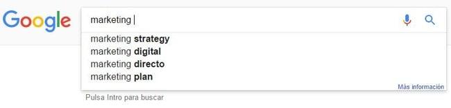 El autocompletado de Google es una ayuda para determinar la selección de keywords perfecta en una primera fase, la de barrido