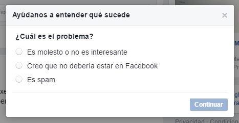 Cualquier publicación en Facebook se puede denunciar indicando los motivos. Es el caso de tener que tratar un caso de plagio en la web.