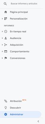barra lateral Google Analytics