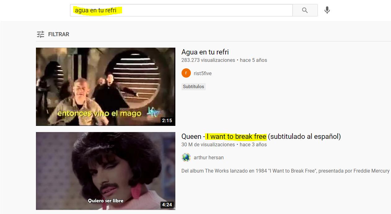 Ejemplo de búsqueda semántica en Youtube: agua en tu refri