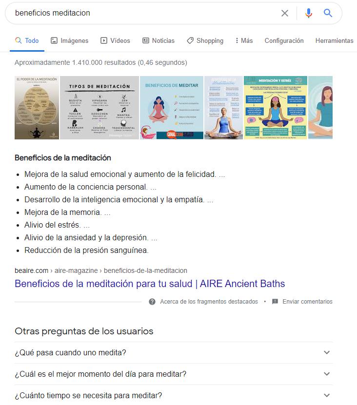 Ejemplo búsqueda con fragmantos destacados y posición cero en Google