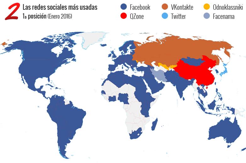 Mapa de las redes sociales más usadas en el mundo
