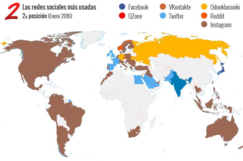 Mapa de las segundas redes sociales más usadas en el mundo