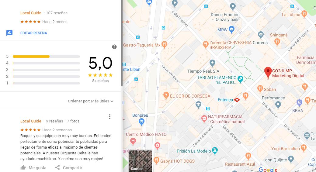 Los comentarios en Google visibles a traves de GMaps ayudan notablemente a mejorar la reputación online de un hotel