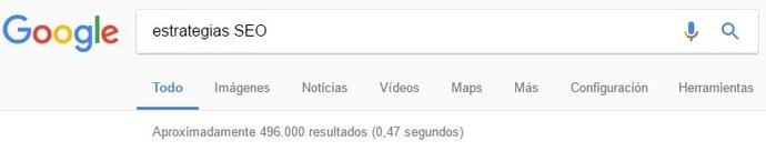 Debemos tener muy presentes los resultados que el buscador Google da sobre cada búsqueda y plasmarlos en nuestra selección de keywords perfecta